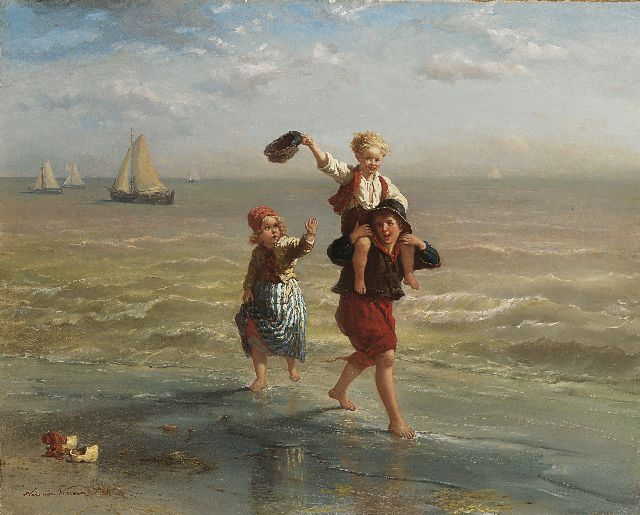 Elchanon Verveer | Children playing in the surf, oil on canvas, 60.2 x 75.2 cm, signed l.l. and dated '63