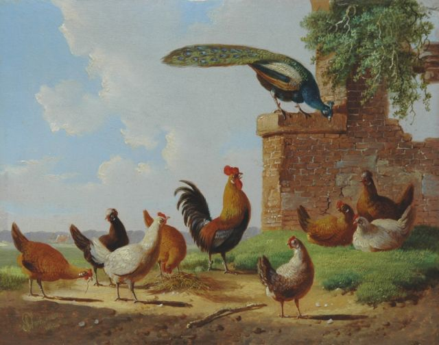 Albertus Verhoesen | Poultry in a classical landscape, oil on panel, 13.2 x 16.7 cm, signed l.l. and dated 1869