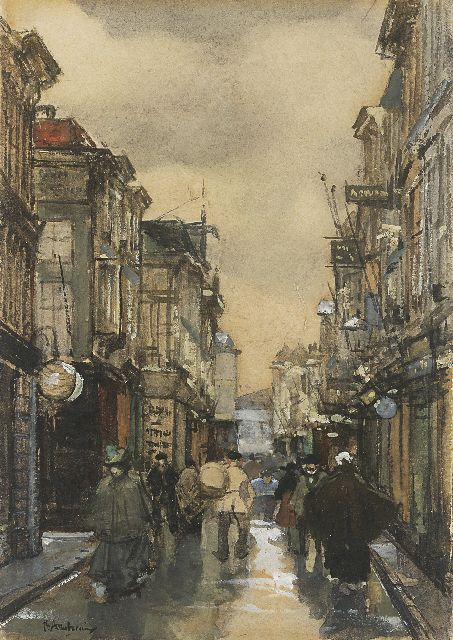 Floris Arntzenius | A view of the Spuistraat, The Hague, watercolour and gouache on paper, 16.9 x 11.5 cm, signed l.l.