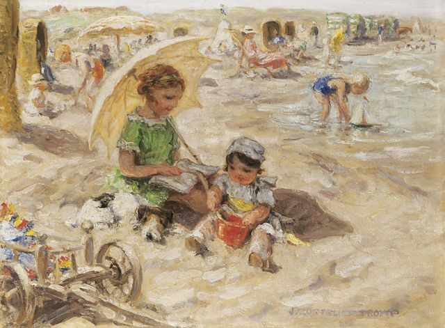 Jan Zoetelief Tromp | A day at the beach, oil on canvas, 30.0 x 40.0 cm, gesigneerd r.o. en verso