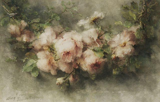 Margaretha Roosenboom | A garland of pink roses, watercolour on paper, 48.3 x 75.3 cm, signed l.l.