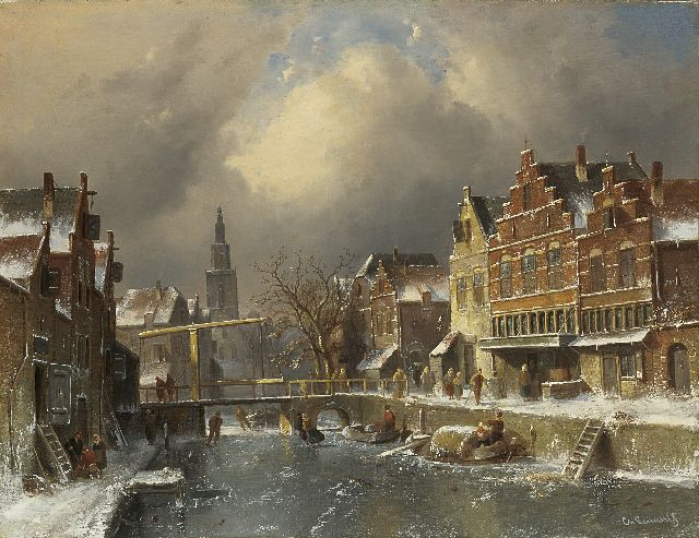 Charles Leickert | The Verdronkenoord, Alkmaar, in winter, oil on canvas, 63.7 x 82.2 cm, signed l.r. and m.r.