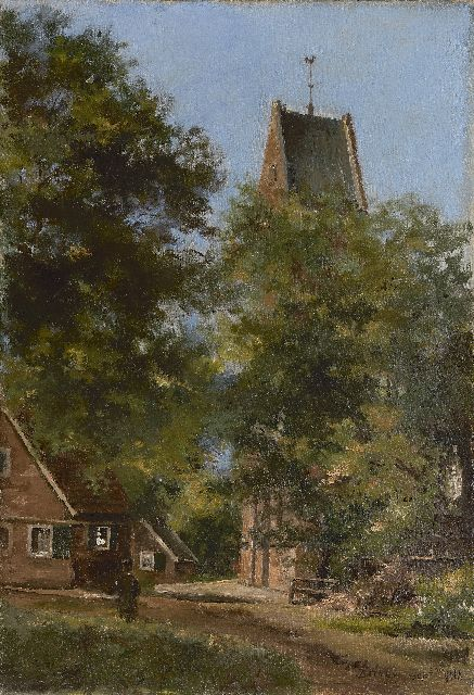 Paul van der Ven | A view of the church of Bathmen, oil on canvas, 68.5 x 48.0 cm, signed l.r. and dated 'sept. '08'