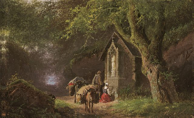 Barend Cornelis Koekkoek | Travellers at a Lady Chapel in the woods, oil on copper, 5.7 x 9.0 cm, signed l.l. with initials and painted between 1845-1849