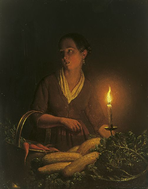 Petrus van Schendel | A girl selling vegetables at the night-market, oil on panel, 24.3 x 19.2 cm, signed l.r.