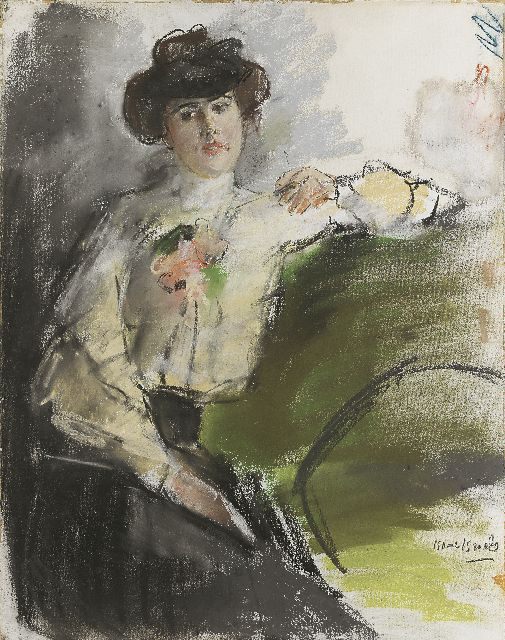 Israels I.L.  | Seamstress smoking, pastel on paper, 57.0 x 47.0 cm, signed l.r. and painted circa 1905