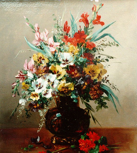 Cauchois E.H.  | A bunch of wildflowers, oil on canvas, 65.3 x 54.0 cm, signed l.r.