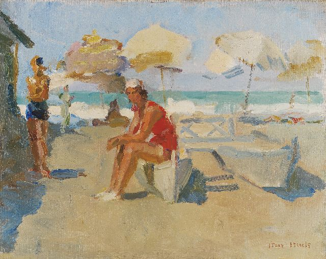 Israels I.L.  | Figures on the beach of 'Il Lido di Venezia', oil on canvas, 40.1 x 50.3 cm, signed l.r. and painted circa 1927