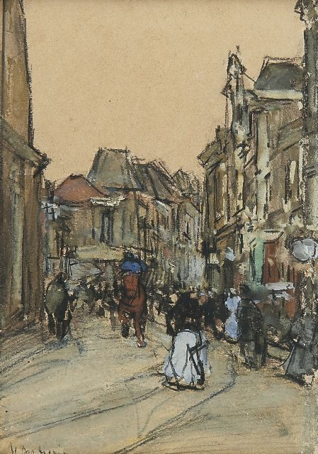 Floris Arntzenius | A street in The Hague, black chalk and watercolour on paper, 12.5 x 8.9 cm, signed l.l.