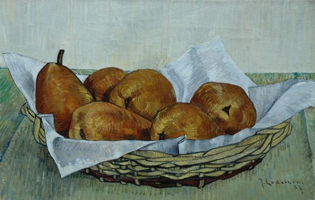 Jo Lodeizen | Pears in a basket, oil on canvas, 28.7 x 43.6 cm, signed l.r. and dated '37