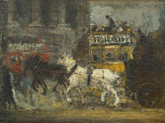 Ko Cossaar | The London omnibus, oil on canvas laid down on panel, 31.2 x 41.8 cm, signed l.l.