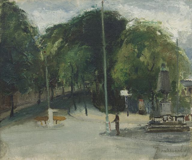 Jaap Nanninga | A view from the Plaats, The Hague, oil on canvas, 50.5 x 60.5 cm, signed l.r. and painted ca. 1939-1945