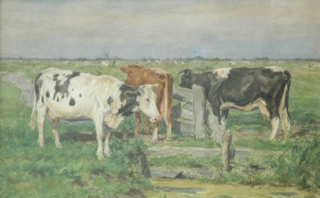 Herman Wolbers | Cows near a fence, watercolour on paper, 35.0 x 54.5 cm, gesigneerd r.o.