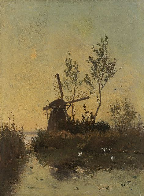 Paul Joseph Constantin Gabriel | A windmill by sunset, oil on canvas, 48.0 x 35.5 cm, signed l.l.