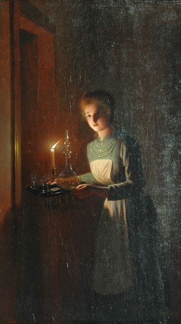 Johannes Rosierse | A woman by candlelight, oil on canvas, 37.5 x 21.7 cm, signed l.r.