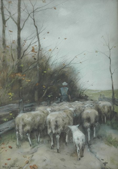 Willem Steelink jr. | Shepherdess and her flock, watercolour and gouache on paper, 31.5 x 23.0 cm, signed l.l.