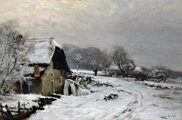 Louis Apol | A farm in a snow-covered landscape, oil on panel, 27.5 x 42.1 cm, signed l.r.