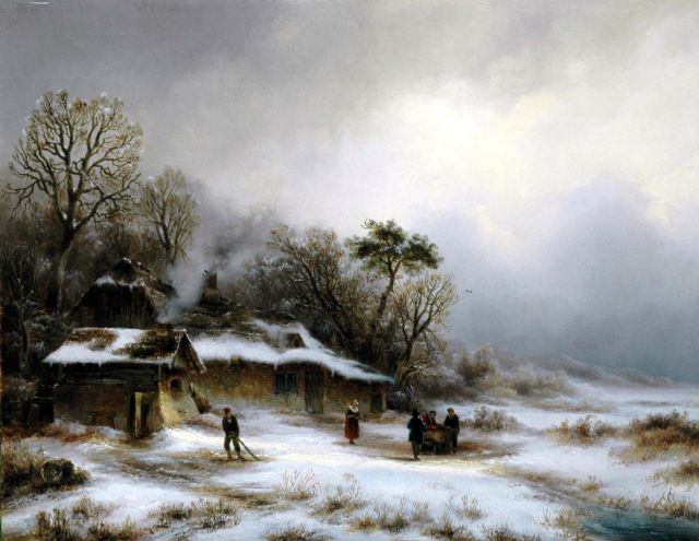 Anton Braakman | Farmer's cottages in a snowy dune landscape, oil on panel, 32.7 x 42.4 cm
