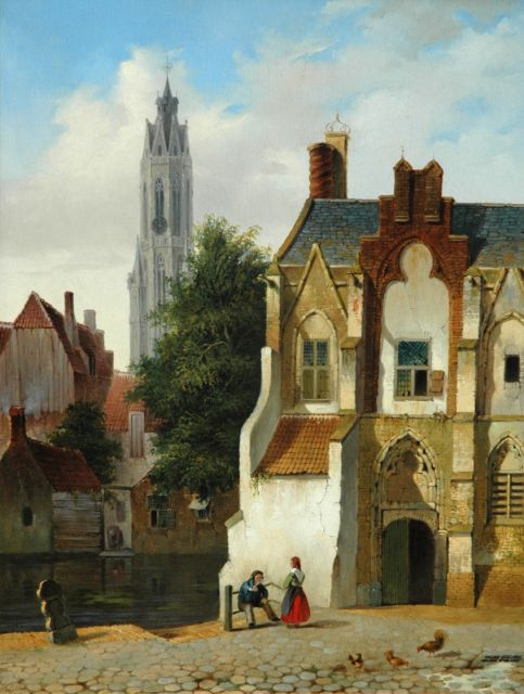 Petrus Gerardus Vertin | A  view of Delft with figures in summer, oil on panel, 51.1 x 39.7 cm, signed l.l. and painted 1838