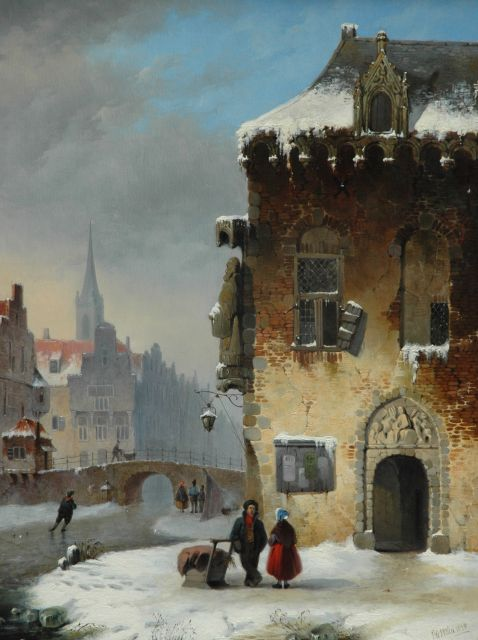Petrus Gerardus Vertin | A town in winter with strollers and skaters, oil on panel, 51.2 x 38.9 cm, signed l.r. and painted 1838