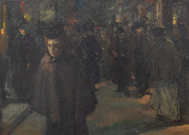 Floris Arntzenius | Crowded shopping street by night, oil on canvas, 36.8 x 51.0 cm