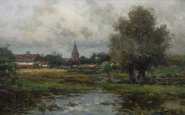 Willem Rip | After the rain. View of the village of Neerlangel, oil on canvas, 32.6 x 50.3 cm, signed l.r. and on the reverse