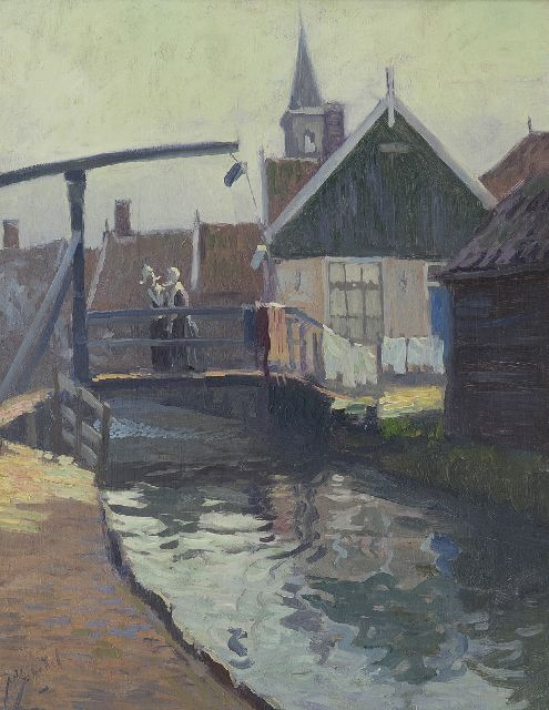 Anthonie Pieter Schotel | A view of the Yellow Bridge, Volendam, oil on panel, 41.0 x 32.7 cm, signed l.l.
