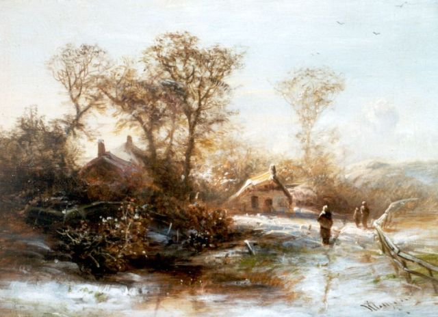 Pieter Kluyver | Peasants in a wooded landscape, in winter, oil on panel, 19.5 x 26.0 cm, signed l.r.