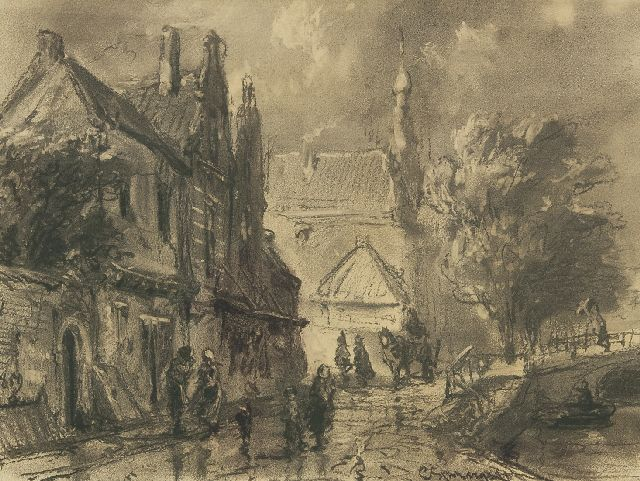 Springer C.  | A view of the Raamgracht in Haarlem, black chalk on paper 31.0 x 40.1 cm, signed l.r. and painted 1859