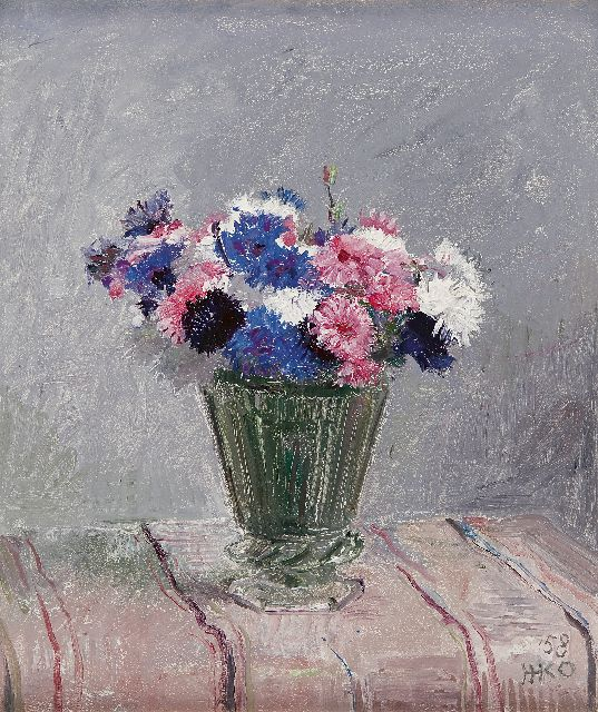 Harm Kamerlingh Onnes | Flowers in a glass vase, oil on painter's board, 35.7 x 30.1 cm, signed l.r. with monogram and dated '58