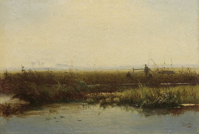 Paul Joseph Constantin Gabriel | Anglers in a polder landscape, oil on panel, 21.5 x 31.3 cm, signed l.r.