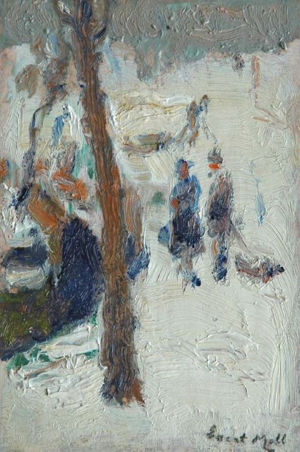 Evert Moll | Strollers in a park in winter, oil on panel, 18.2 x 12.1 cm, signed l.r.