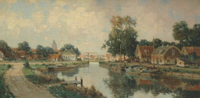 Gerard Delfgaauw | Houses along a waterway, oil on canvas, 60.1 x 120.0 cm, signed l.l.