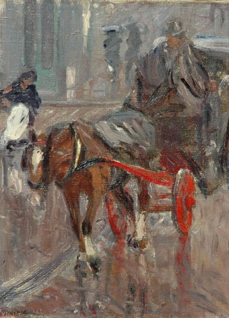 Maurits Niekerk | Carriage in the rain, oil on canvas, 49.8 x 37.5 cm, signed l.l. and dated 1900