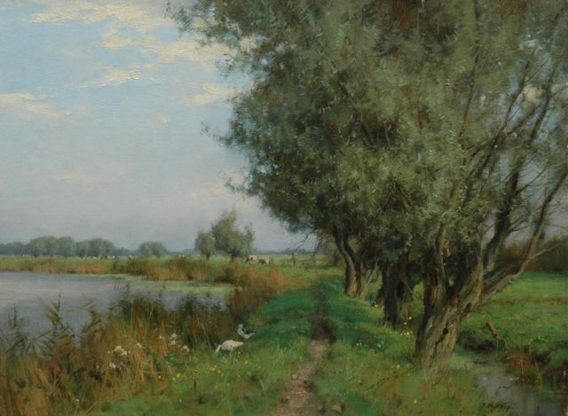 Jan Holtrup | A polder landscape in summer, oil on canvas, 30.3 x 40.4 cm, signed l.r.