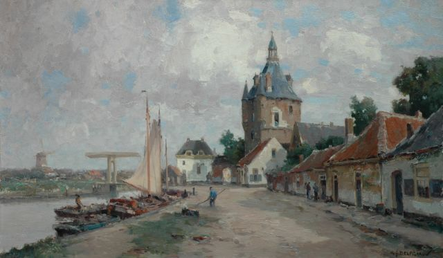 Gerard Delfgaauw | A view of the Lekpoort, Vianen, oil on canvas, 60.3 x 100.3 cm, signed l.r.