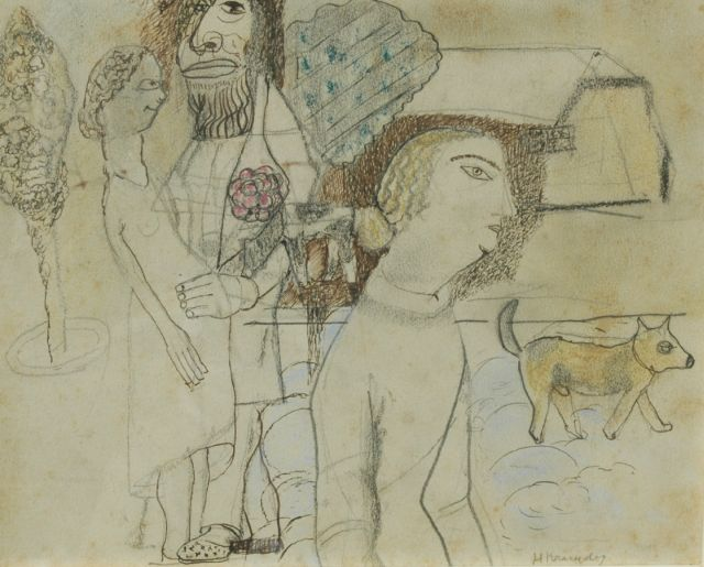 Herman Kruyder | The protector of the unwanted pregnant woman, pencil, pen, ink and pastel on paper, 17.2 x 21.3 cm, signed l.r. and painted ca. 1922-1926