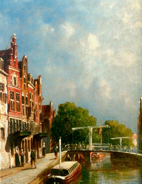 Petrus Gerardus Vertin | A Dutch town in summer, oil on panel, 20.3 x 15.7 cm, signed l.r.