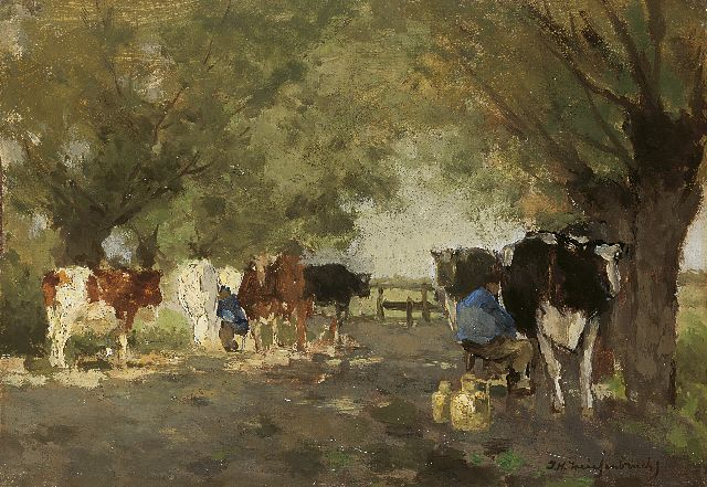 Jan Hendrik Weissenbruch | Milking the cows, oil on canvas laid down on panel, 20.8 x 29.7 cm, signed l.r.