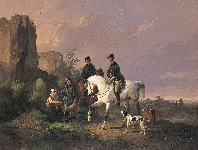 Wouterus Verschuur | Hunting party, oil on canvas, 30.8 x 41.1 cm, signed l.c. and dated 1845