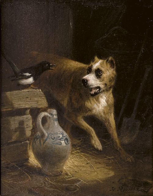 Henriette Ronner-Knip | The cheeky visitor, oil on panel, 19.2 x 15.7 cm, signed l.r.