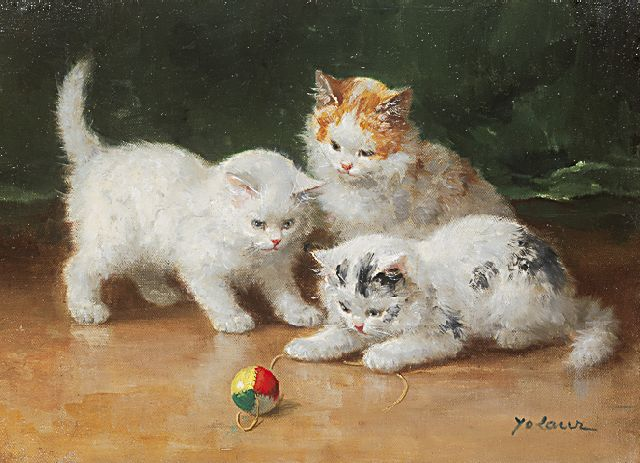 Laur M.-Y.  | Three kittens playing, oil on canvas 24.2 x 33.2 cm, signed l.r.
