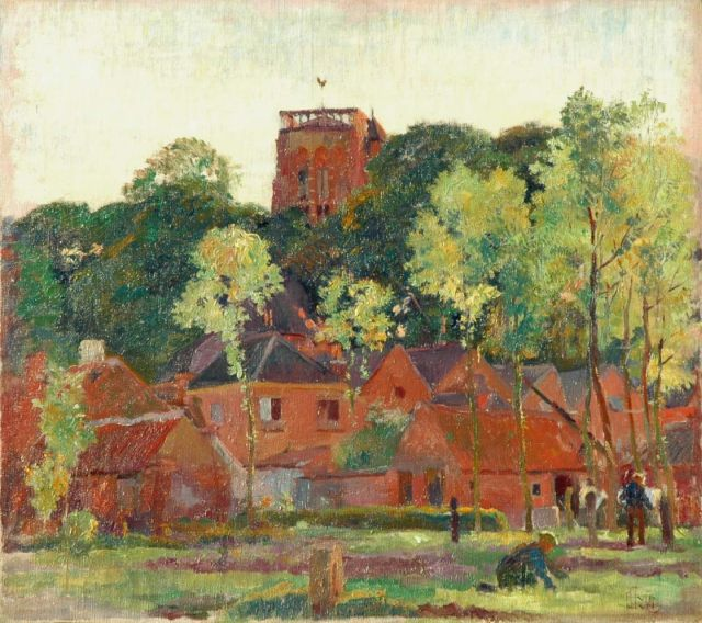 Huib Luns | The Vughtse tower in summer, oil on canvas laid down on board, 46.3 x 52.0 cm, signed l.r. and dated 1928