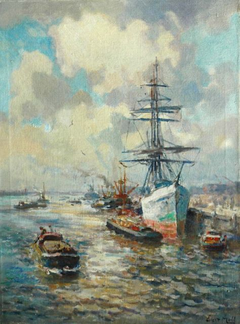 Evert Moll | A three master in the Rotterdam harbour, oil on canvas, 81.3 x 60.9 cm, signed l.r.