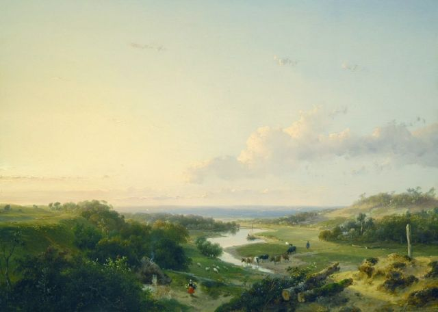 Andreas Schelfhout | An extensive river landscape, oil on panel, 35.8 x 48.8 cm, signed l.r. and dated 1847