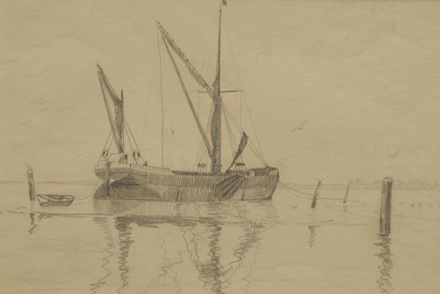 Back R.T.  | A moored 'Thames barge', pencil on paper 25.3 x 35.7 cm, signed reverse