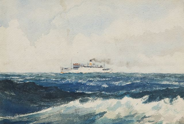 Robert Trenaman Back | The steamer Lord Nelson at open sea, watercolour on paper, 24.4 x 35.6 cm, signed l.r. and dated 1939