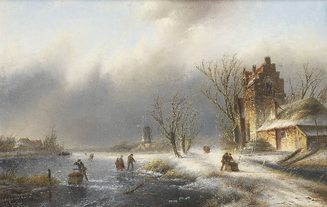 Jacob Jan Coenraad Spohler | A winter landscape with figures on and along a frozen river, oil on canvas, 43.6 x 66.8 cm, signed l.l.