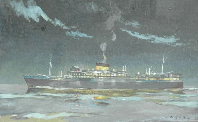 Robert Trenaman Back | Cruise ship by night, oil on panel, 25.3 x 40.0 cm, signed l.r.