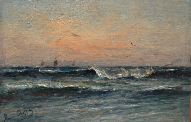 Romain Steppe | Sunset over the Flemish coast, oil on panel, 15.7 x 24.0 cm, signed l.l.